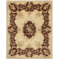 Handmade French Bouquet Ivory/ Rust Hand-spun Wool Rug (9' x 12')