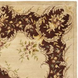 Handmade French Bouquet Ivory/ Rust Hand-spun Wool Rug (8' x 10')