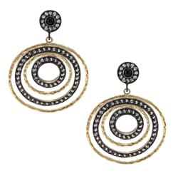 Rivka Friedman Esha 18k Gold Overlay Multi-circle CZ Earrings