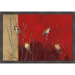 Ellen Granter 'Sparrows in Willow' Framed Print Art