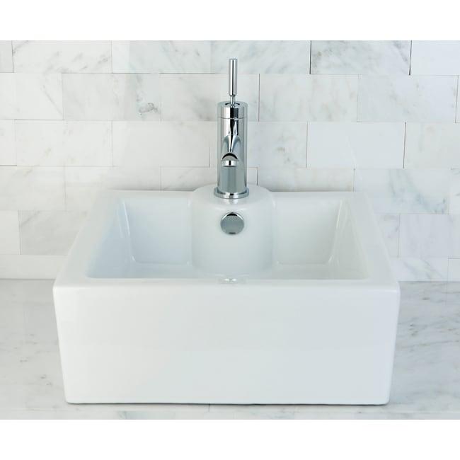 Bathroom Sink Table : Polaris Sinks White Porcelain Vessel Sink
