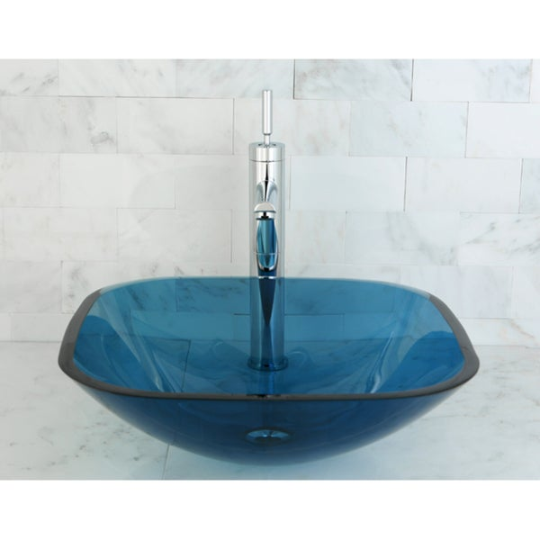 Blue Tempered Glass Vessel Bathroom Sink