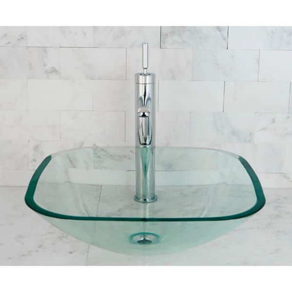 Glass Bathroom Sinks : Clear Tempered Glass Vessel Bathroom Sink - 13844085 - Overstock.com ...