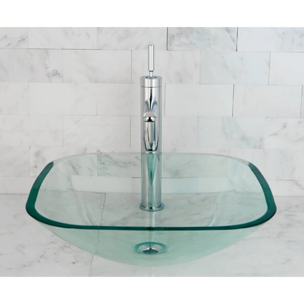 Tempered Glass Vessel Sink : Clear Tempered Glass Vessel Bathroom Sink - 13844085 - Overstock.com ...