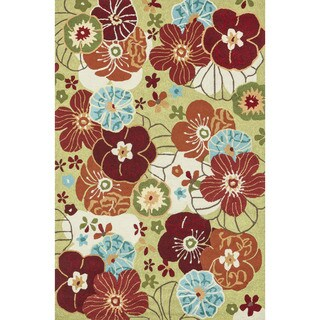 Hand-hooked Peony Apple Green Floral Rug (7'6 x 9'6)