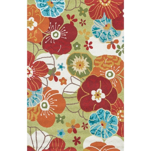 Hand-hooked Peony Apple Green Floral Rug (3'6 x 5'6)