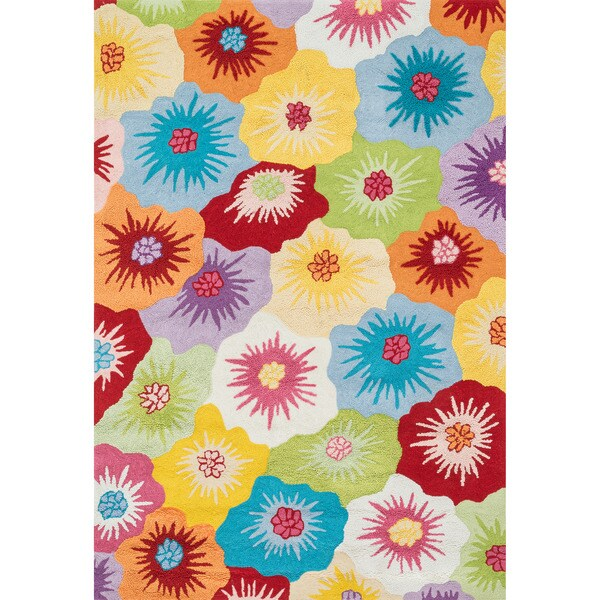 Hand-hooked Peony Multi Floral Rug (7'6 x 9'6)