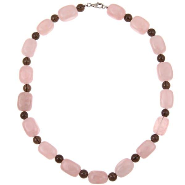 Pearlz Ocean Rose and Smokey Quartz Necklace