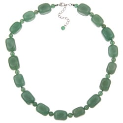 Pearlz Ocean Sterling Silver Green Aventurine Necklace