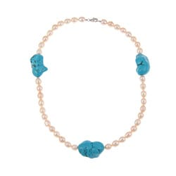 Pearlz Ocean Turquoise Howlite and Orange FW Pearl Necklace (7-9 mm)