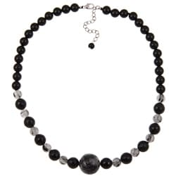 Pearlz Ocean Sterling Silver Black Onyx and Rutilated Quartz Necklace