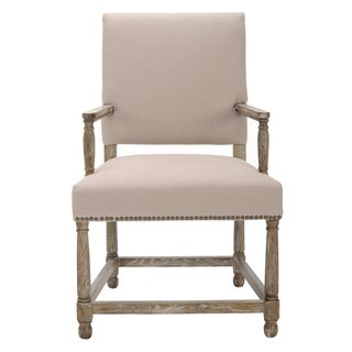 Safavieh Bexley Beige Linen Nailhead Arm Chair