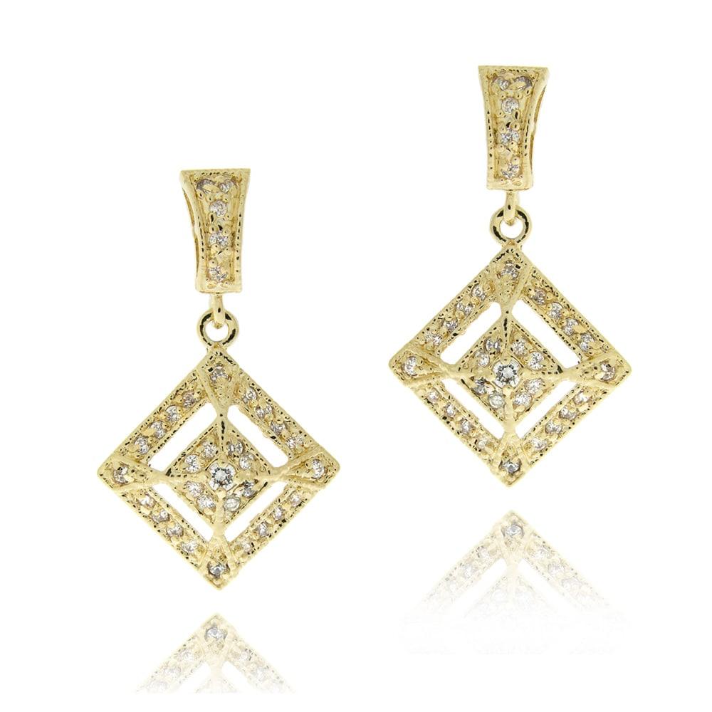 Icz Stonez 14k Yellow Goldplated Cubic Zirconia Diamond-shaped Earrings