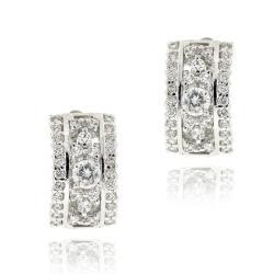 Icz Stonez Rhodiumplated Cubic Zirconia Hoop Earrings