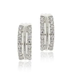 Icz Stonez Rhodiumplated Cubic Zirconia Half Round Hoop Earrings