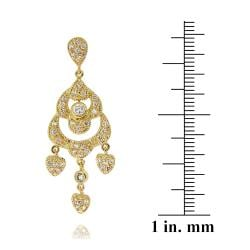 Icz Stonez 14k Yellow Goldplated Cubic Zirconia Chandelier Heart Earrings