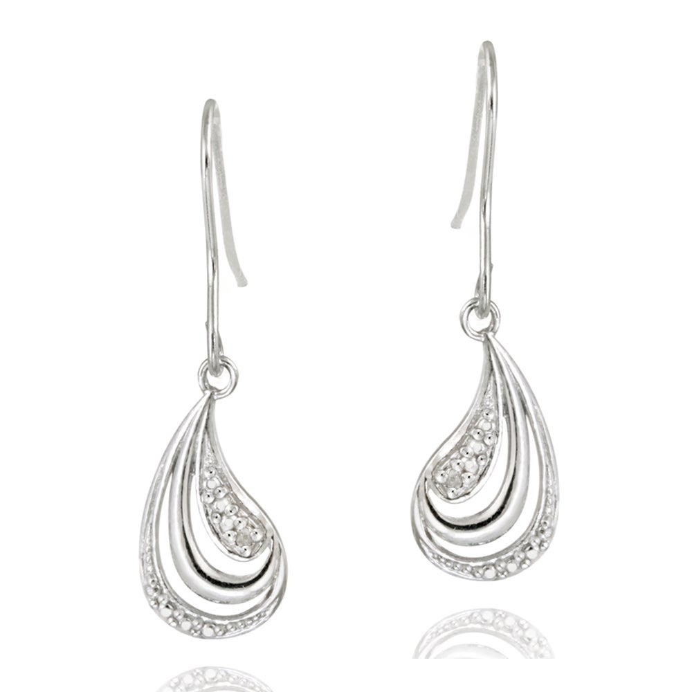 DB Designs Sterling Silver Diamond Accent Wave Design Dangle Earrings