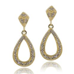 DB Designs 18k Yellow Gold over Silver Diamond Accent Teardrop Dangle Earrings