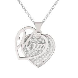 Sterling Silver Crystal 'Mom' Heart Necklace