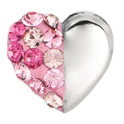 Sterling Silver Light-rose Round Crystal Heart Stud Earrings