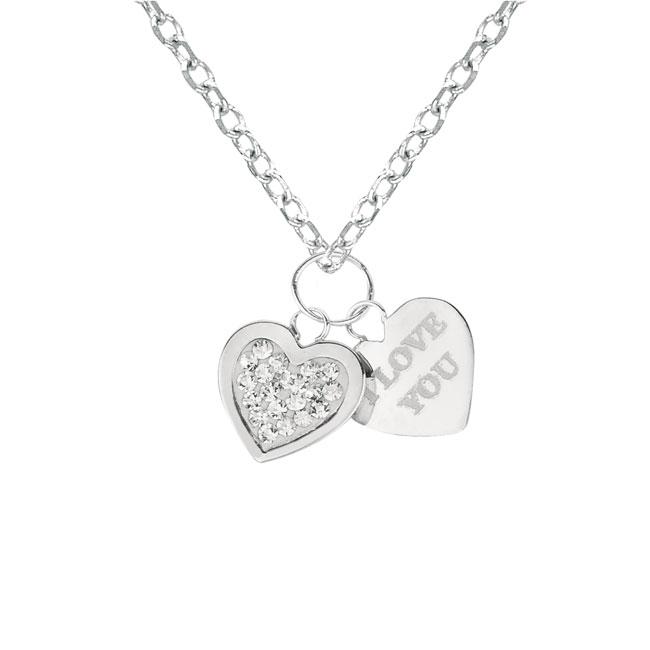 Sterling Silver Crystal 'I Love You' Heart Necklace