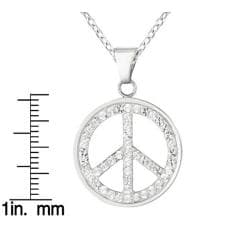 High-polish Sterling Silver Crystal Peace Sign Pendant Necklace