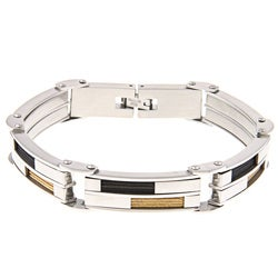 Tri-color Stainless Steel Men's Inlaid Cable Bracelet