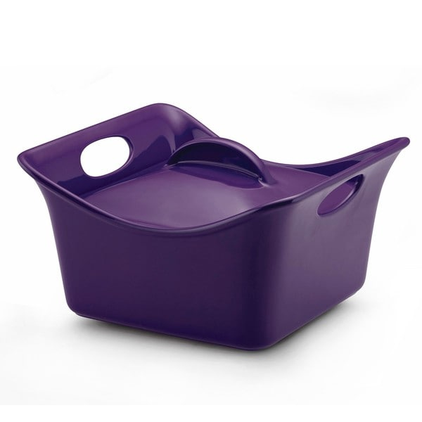 Rachael Ray Purple Stoneware 3.5-quart Covered Square Casserole Dish
