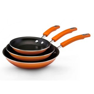 Rachael Ray Hard Enamel Cookware Triple Pack: 7.5-inch 9.25-inch and 11-inch Skillets, Orange 2-tone