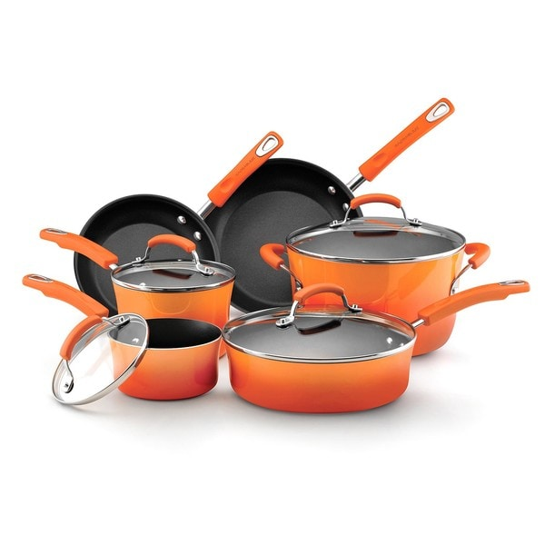 Rachael Ray Orange Porcelain II Nonstick 10-piece Cookware Set 8366087