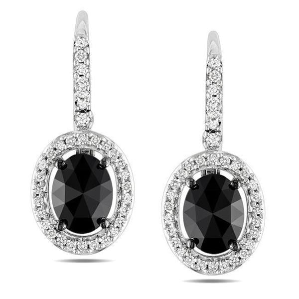 Miadora Signature Collection 14k White Gold 2ct TDW Black and White Diamond Earrings (G-H, I1-I2)