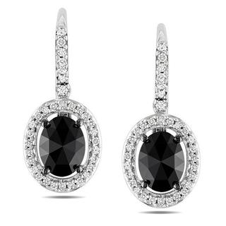 Miadora 14k White Gold 2ct TDW Black and White Diamond Earrings (G-H, I1-I2)
