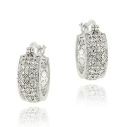 DB Designs Sterling Silver Diamond Accent Filigree Hoop Earrings