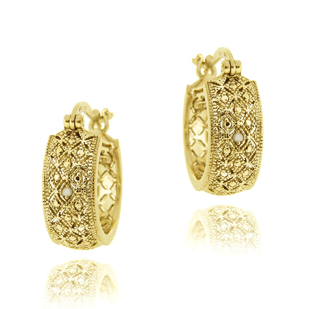 DB Designs 18k Yellow Gold over Silver Diamond Accent Filigree Hoop Earrings