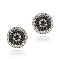 DB Designs Sterling Silver 1/8ct TDW Black Diamond Round Stud Earrings