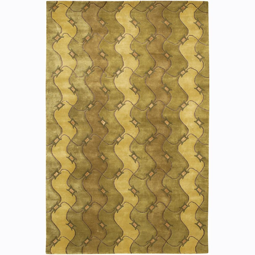 Hand-Knotted Mandara Green Wave-Pattern Rug (2' x 3')