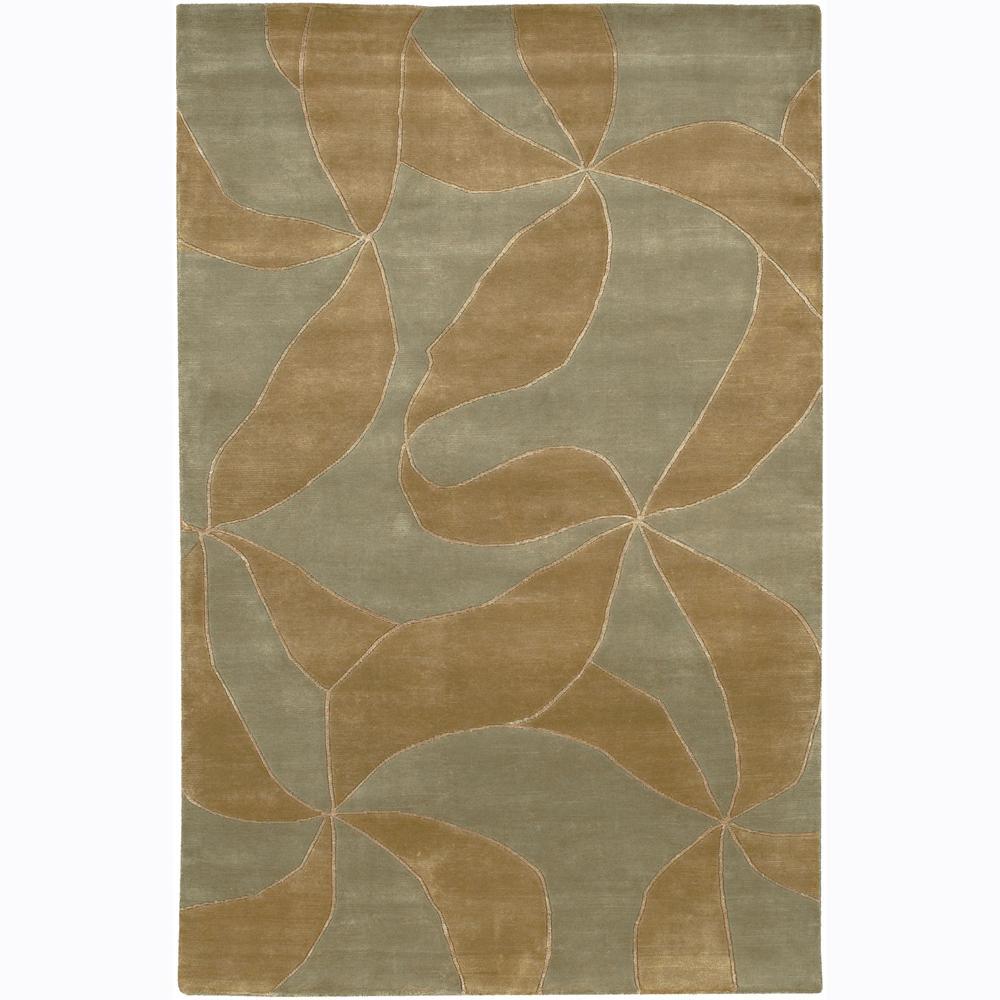Hand-knotted Mandara Brown Floral Wool Rug (2' x 3')