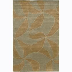 Hand-knotted Mandara Brown Floral Wool Rug (2' x 3')