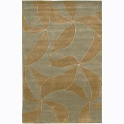 Hand-knotted Mandara Brown Floral Wool Rug (7'9 Round)