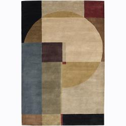 Hand-Knotted Abstract Mandara Wool Rug (7'9 x 10'6)