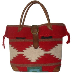 Amerileather Red Wool-blend Roamer Tote Bag