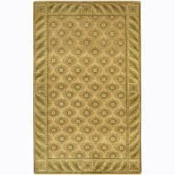 Hand-Knotted Green/Tan/Gold Mandara Wool Rug (2' x 3')