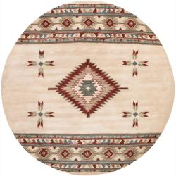 Hand-Tufted Southwestern Mandara New Zealand Wool Rug (7'9 Round)