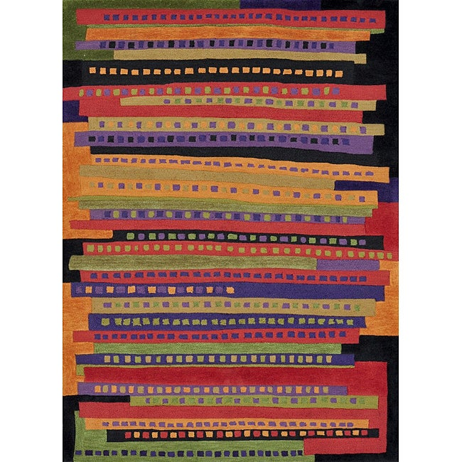Hand-tufted Caulfield Multi Stripes Rug (2' x 3')