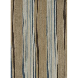 Hand-tufted Caulfield Neutral/ Blue Rug (5' x 7'6)