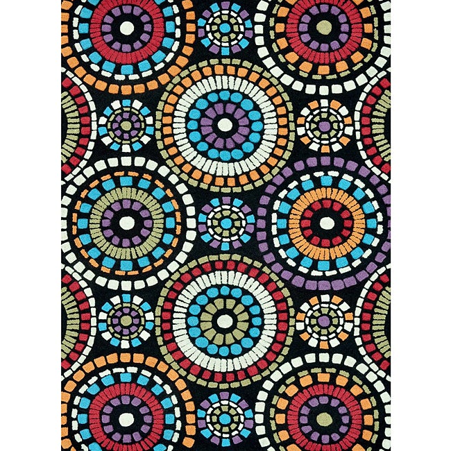 Hand-tufted Caulfield Black Circles Rug (7'9 x 9'9)