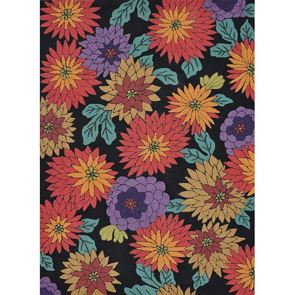 Hand-tufted Caulfield Black Floral Rug (7'9 x 9'9)