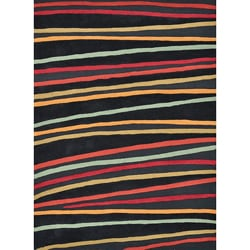 Hand-tufted Caulfield Black Stripes Rug (7'9 x 9'9)