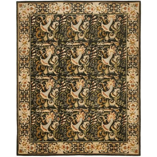 Safavieh Handmade Floral Bells Charcoal Grey Hand-spun Wool Rug (8' x 10')