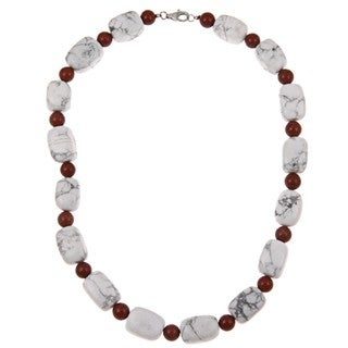 Pearlz Ocean Sterling Silver Howlite and Red Jasper Necklace